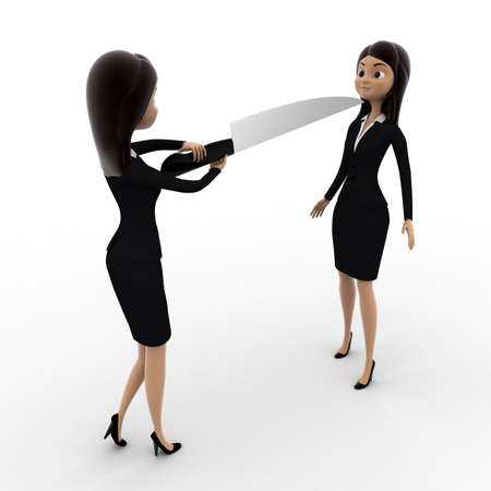 another: 3d woman showing big knife to another woman concept on white background, front angle view Stock Photo