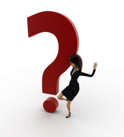 three dots: 3d woman kicking dot of question mark concept on white background, top angle view Stock Photo