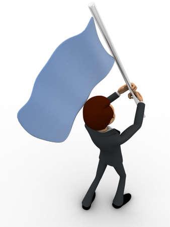 encuestando: 3d hombre con la bandera azul en las manos y el concepto que de votaci�n el backgorund blanco, �ngulo de vista superior