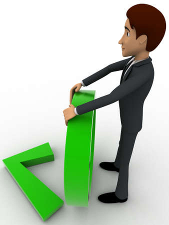 backgorund: 3d man holding circle and green right symbol concept on white backgorund, side angle view Stock Photo