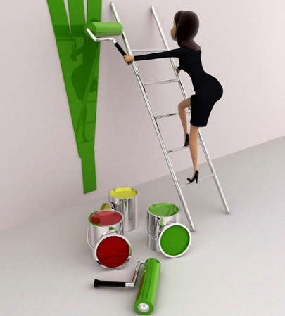 paint wall: 3d woman paint wall green using paint roller concept on white background, side angle view