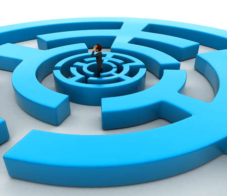 finding: 3d man into finding path puzzle concept on white background, side angle view Stock Photo