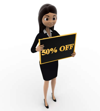 50  off: 3d woman holding 50% off board in hnad concept on white background, top angle view