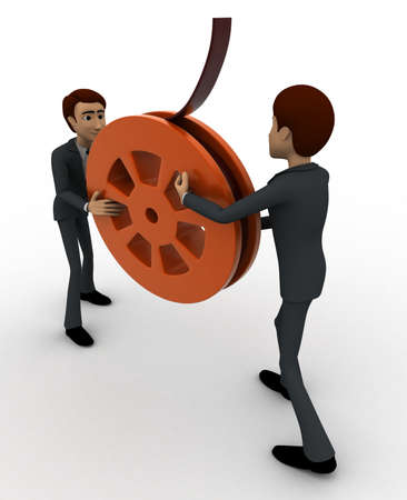 backgorund: 3d man holding film reel in hand concept on white backgorund,  side angle view