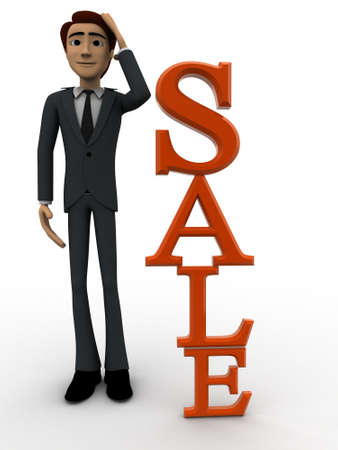 backgorund: 3d man tjinking near vertical sale text concept on white backgorund, front angle view