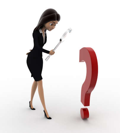 examine: 3d woman examine question mark using magnifying glass concept on white background, back angle view