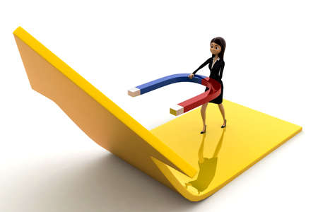 attract: 3d woman attract arrow up side using magnet concept on white background, front angle view