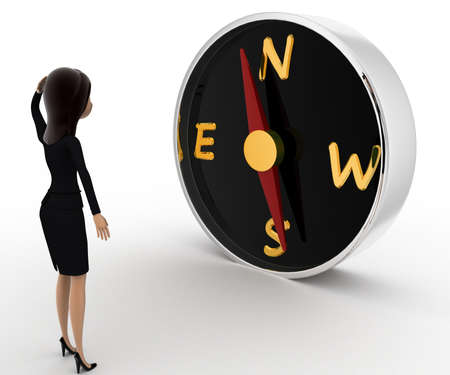 while: 3d woman looks worried while looking direction on compass concept on white background, side angle view Stock Photo