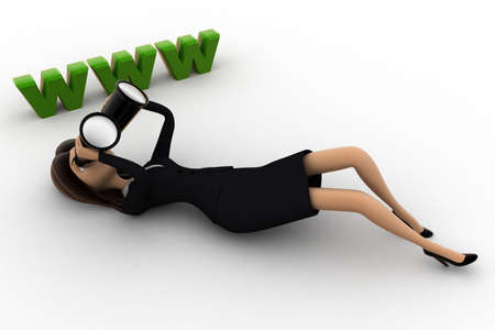 looking at view: 3d woman lying on floor and looking for website thourgh binocular concept on white background, side  angle view Stock Photo