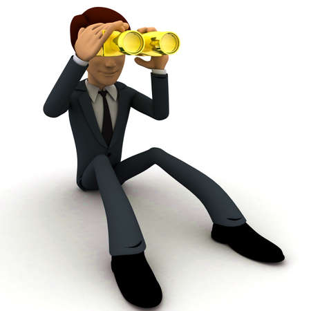 looking at view: 3d man looking through golden binocular concept on white background, front angle view