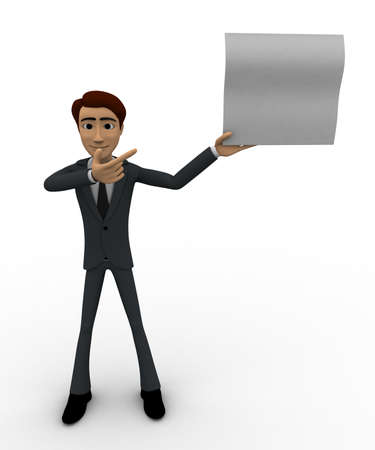 point of view: 3d man showing empty paper in one hand and point with another hand concept on white background, front angle view