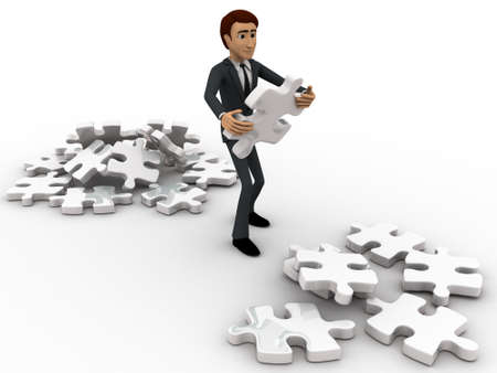 man side view: 3d man replacing puzzle pieces from one place to another place concept on white backgorund, left side angle view