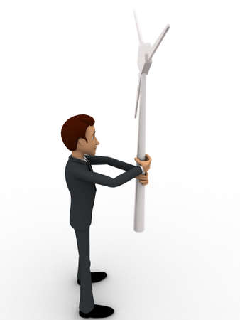 backgorund: 3d man holding small windmill in hand concept on white backgorund, side angle view