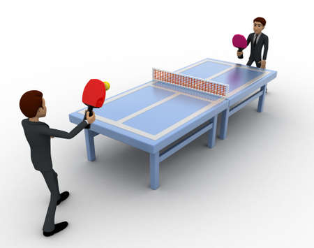 backgorund: 3d man play table tennis concept on white backgorund, top angle view