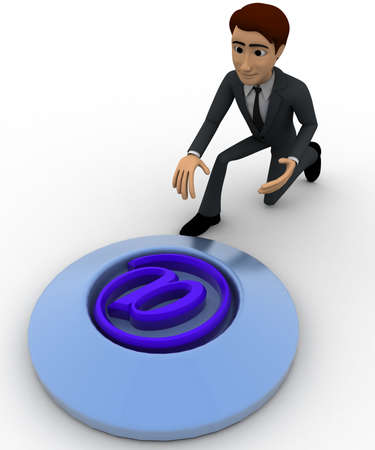 press button: 3d man press button with email icon concept on white backgorund, topangle view Stock Photo