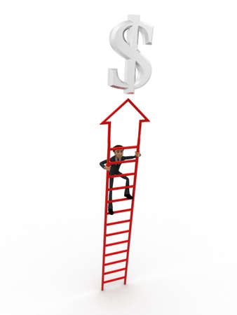 up stair: 3d man climb arrow stair up towrds silver dollar sign concept on white background, front angle view