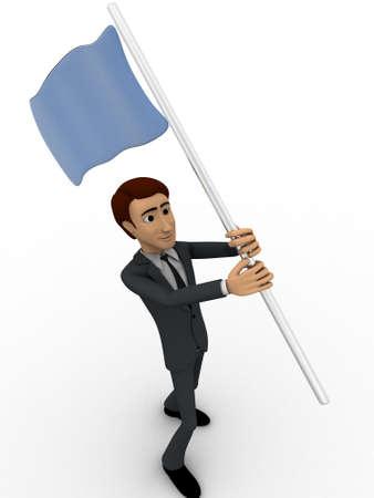 encuestando: 3d hombre con la bandera azul en las manos y el concepto que de votaci�n el backgorund blanco, �ngulo de vista lateral Foto de archivo