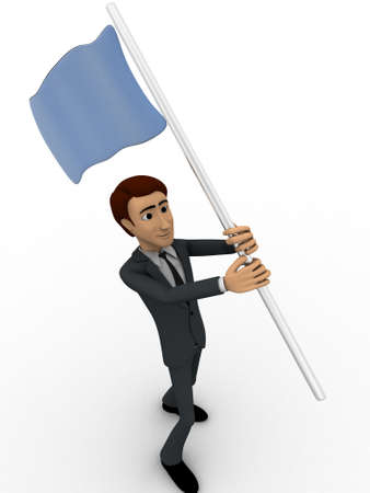 polling: 3d man with blue flag in hands and polling it concept on white backgorund, side angle view