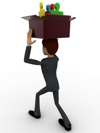 backgorund: 3d man holding box of puzzle pieces on head concept on white backgorund, back angle view Stock Photo