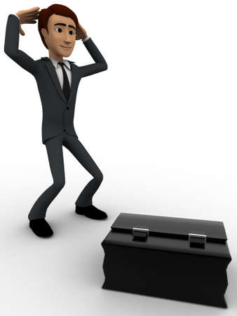 backgorund: 3d man in stress with big black briefcase concept on white backgorund, side angle view