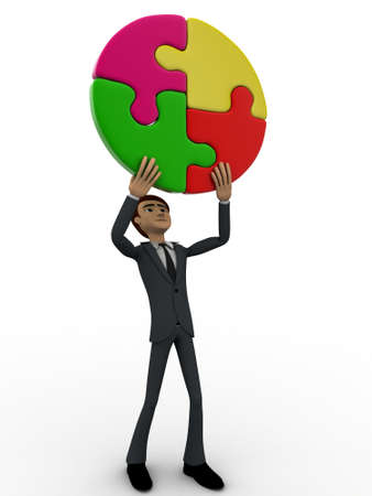 man side view: 3d man holding four connect circular puzzle pieces concept on white backgorund, right side angle view