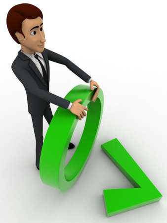 backgorund: 3d man holding circle and green right symbol concept on white backgorund, top angle view Stock Photo