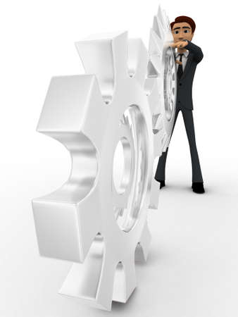 backgorund: 3d man with metalic mechanical cogwheel concept on white backgorund, front angle view