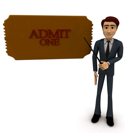 admit: 3d man presenting at admit one concept on white background, front angle view