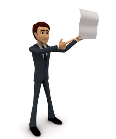 three points: 3d man showing empty paper in one hand and point with another hand concept on white background , side angle view