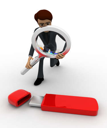 pendrive: 3d man examine usb pendrive using magnifying glass concept on white backgorund, front angle view