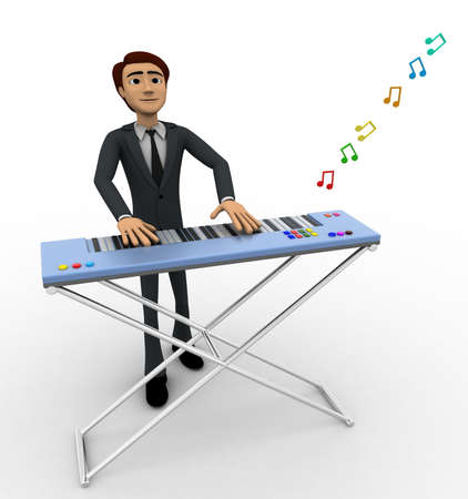 backgorund: 3d man play morden musical keyboard concept on white backgorund, front angle view Stock Photo