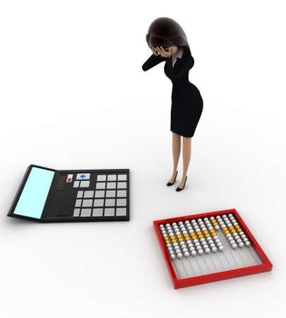 worried executive: 3d woman looks worried about calculation on calculator and abacus concept on white background, top  angle view