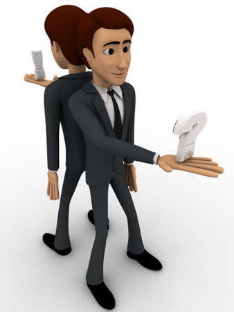 backgorund: 3d man stading on opssite direction and holding question mark in one hand concept on white backgorund,  side angle view