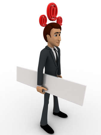 head paper: 3d man with blank paper and three email icon on head concept on white background, side angle view