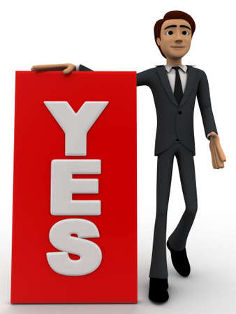 which: 3d man with sign board on which yes is written concept on white background, front angle view