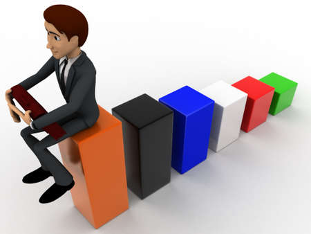 angle bar: 3d man sitting on bar graph and working  concept on white background, top angle view Stock Photo