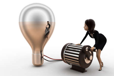 thin bulb: 3d woman lighting up bulb using generator concept on white background, front angle view