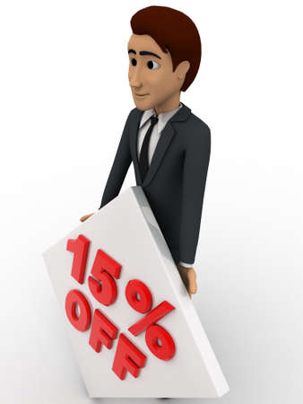 15: 3d man with 15 percentage discount square board concept on white background, side angle view
