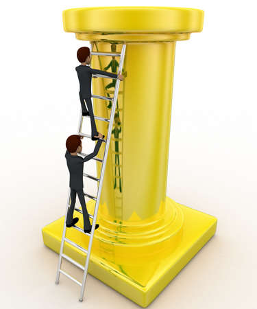 tall man: 3d man climb tall golden pillar using ladder concept on white background, front angle view