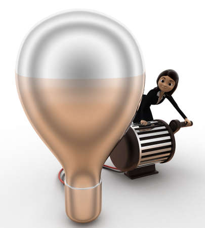 side lighting: 3d woman lighting up bulb using generator concept on white background, side  angle view