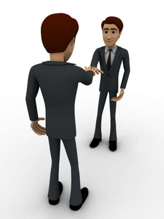 doing: 3d man doing shaking hand concept on white background, right side angle view