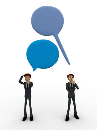 gap: 3d man with chat bubble and communication gap concept on white background, top angle view