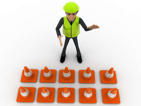 constraction: 3d man constraction builder stoping man from entering concept on white background, top angle view Stock Photo