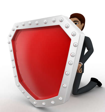 behind: 3d man hiding behind shield concept on white background, left side angle view