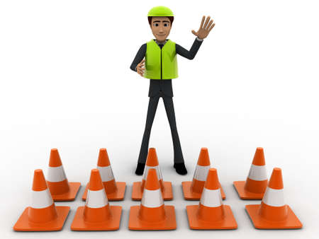 constraction: 3d man constraction builder stoping man from entering concept on white background, front angle view