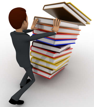 man pushing: 3d man pushing pile of books and books are falling concept on white background, right side angle view Stock Photo