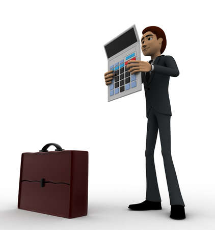 right side: 3d man with calculator and briefcase concept on white background, right side angle view Stock Photo