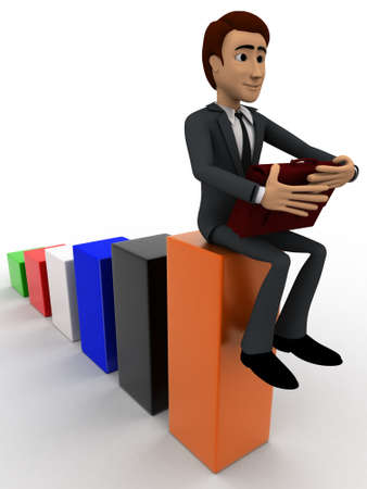 angle bar: 3d man sitting on bar graph and working  concept on white background, front angle view