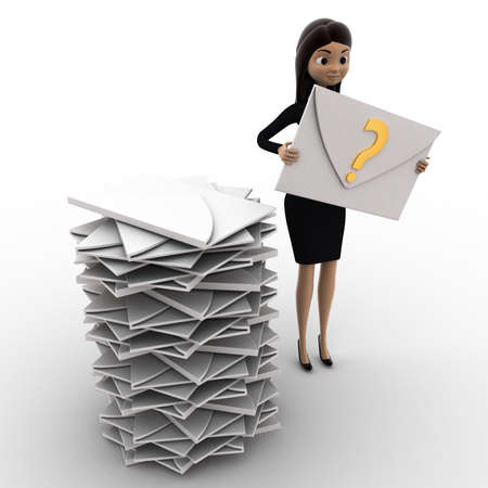 inbox: 3d woman with many mails in inbox and one mail with question mark in hand concept on white background, top   angle view