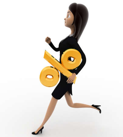 right side: 3d woman running with question mark concept on white background, right side angle view